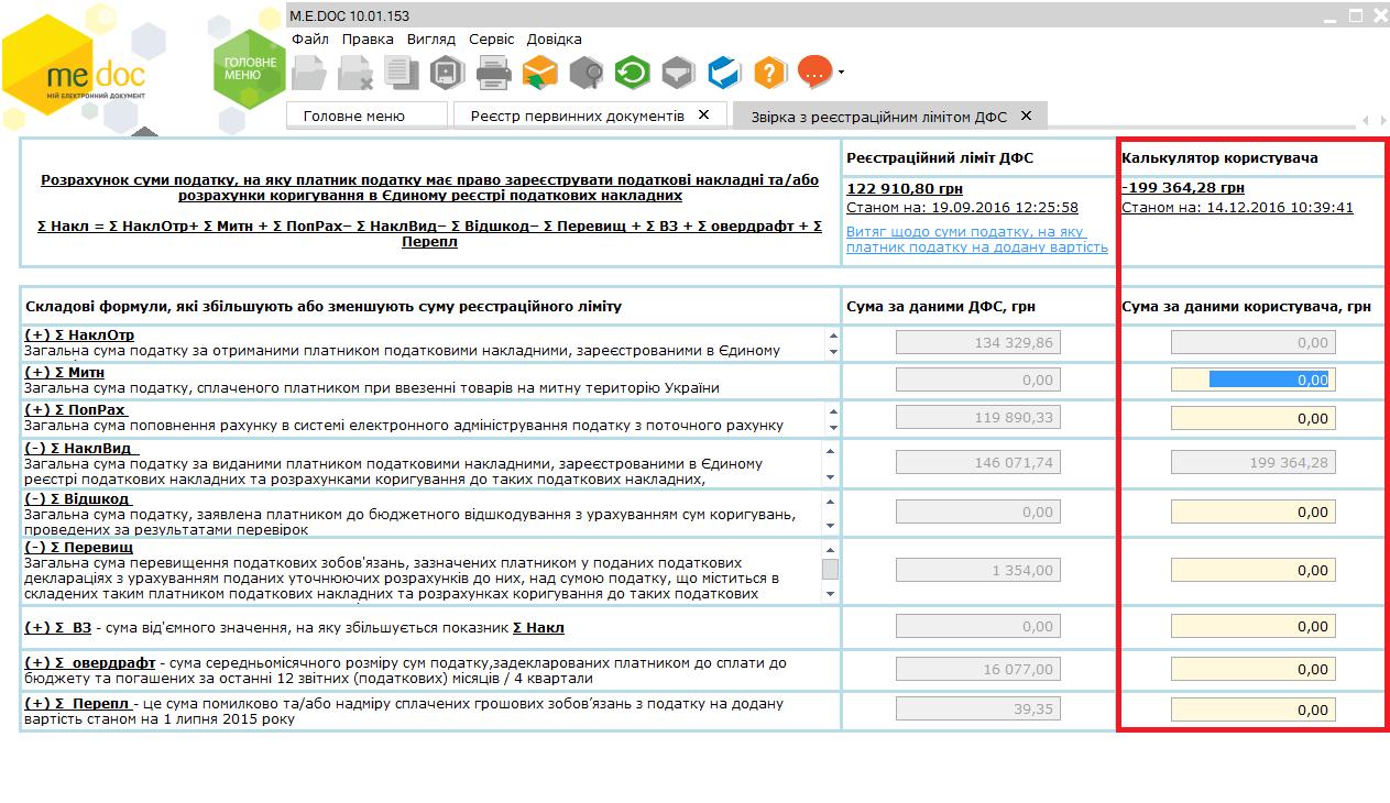 Калькулятор користувача Медок